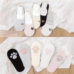 Accessories - 5 Pairs Womens Low Cut Cat Print Animal socks